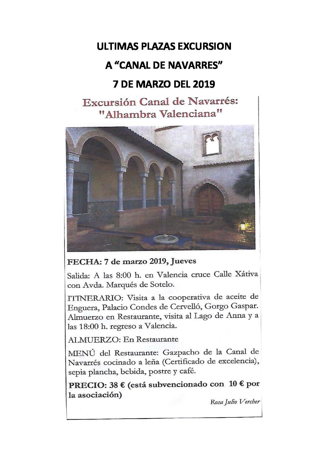 PRÓXIMA SALIDA CANAL DE NAVARRÉS – Últimas plazas – Día 07/marzo/2019