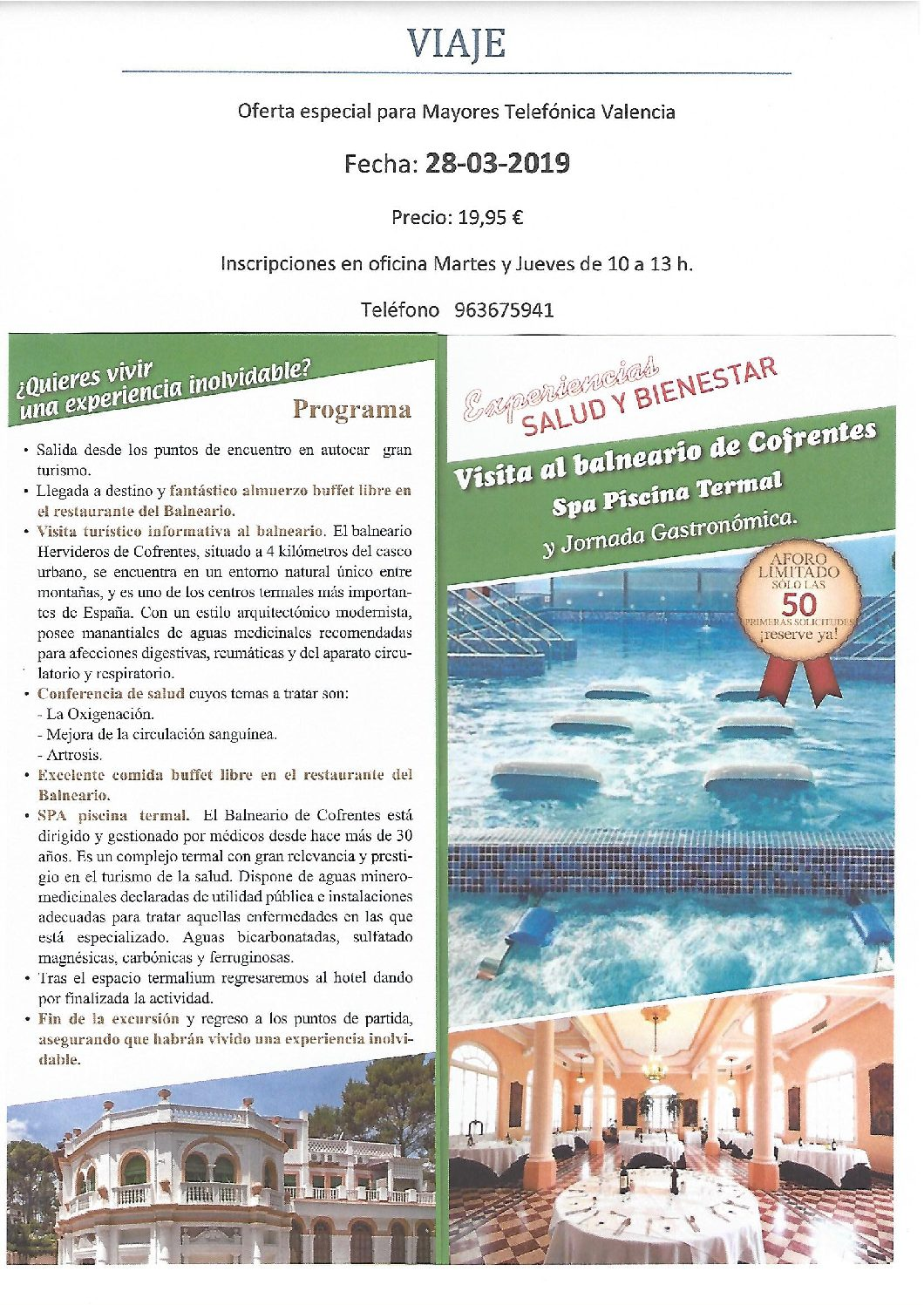 Visita al Balneario de Cofrentes 28-03-2019
