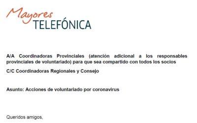 """CARTA DEL PRESIDENTE  DE MAYORES DE TELEFÓNICA  """"Acciones de voluntariado por coronavirus"""""""
